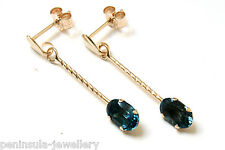 9ct Gold London Blue Topaz Oval Drop earrings Made in UK Gift Boxed