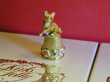 (Goldtone) free ship collectible limited Kirks Folly Ginger Cat Thimble