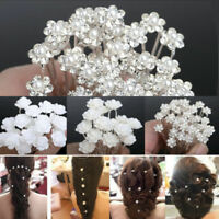 20/40x Bridal Pearl Rhinestone Lotus Flower Hair Pins Wedding Ball Crystal Clips