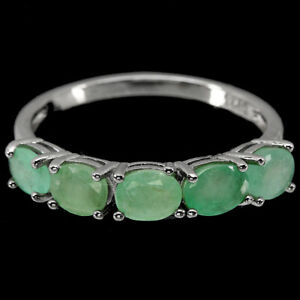 Unheated Oval Emerald 5x4mm 14K White Gold Plate 925 Sterling Silver Ring Size 9