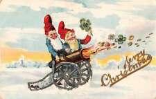 Christmas Greetings Gnomes Elves  Shooting Cannon Glitter Postcard JF685099
