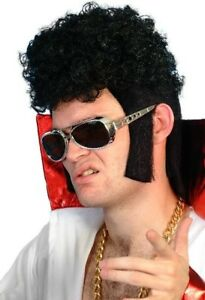 Elvis Presley 50's 1950s 1960s Rocker Black Wig Fancy Dress Accessory NEW