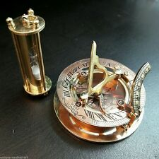 Brass Sundial Compass with Nautical Sand Timer Antique