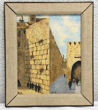 Signed Simon Rosen Israeli Folk Art Gouache Diptych MCM Israeli Folk Art