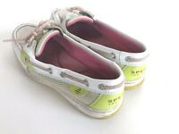 Sperry Top Sider fancy pat leather boat shoes women's 6 Lime White 9266016