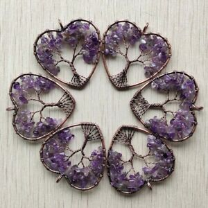 Wholesale 6pcs natural amethysts wire wrapped tree of life heart pendants