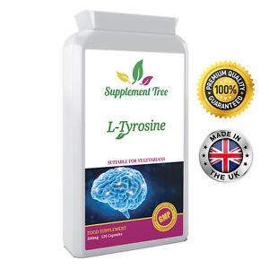 L-Tyrosine 500mg 120 Capsules; Focus, Stress, Mood, Vegetarians UK Manufactured