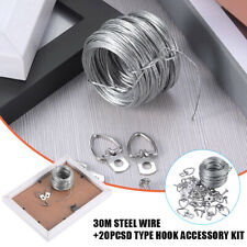 Picture Photo Frame Hanging Kit 20pcs D-Ring with Screws + Hanging Wire 30 lbs