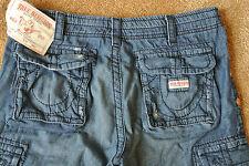TRUE RELIGION CARGO BOARD Shorts 34 NWT$259 Distressed Blue! Signature Logo's!