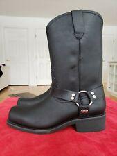 BONANZA Boots Men's Size 10 Leather Black Biker BA120 Full-Grain Oiled Mexico
