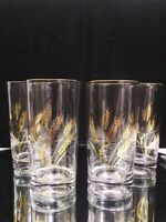 Vintage MCM Gold Wheat Highball Barware Glasses by Libbey Set of 4