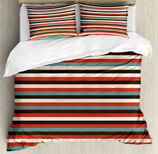 Striped Duvet Cover Set with Pillow Shams Vintage 60's Red Black Print
