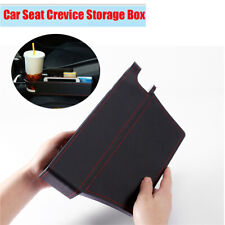 1PC Driver Copilot Car Seat Crevice Storage Box Gap Filler Black PU Cup Holder