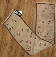 New Pendleton 100% Silk Scarf Vintage Purple Floral Rectangle 53 x 10 inches