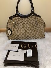Authentic GUCCI 211944 Sukey GG pattern Tote Bag canvas/leather[Used]