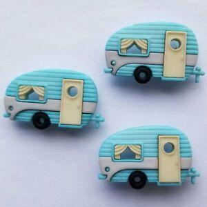 CARAVAN Craft Buttons Camper Van Camping Holiday Card Making Sewing Dress It Up