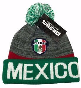 Mexico Soccer Cuffed Pom Pom Beanie Winter Knit Cuff Skully Cap Hat Green/Gray