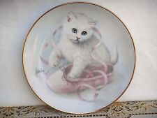Bob Harrison CAT PLATE Keeping in Step Curious Kittens Pink Ballet Shoe Hamilton