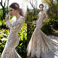 Long Sleeves Wedding Dresses Formal Bridal Gowns Mermaid Size 4 8 12 16 18 Plus