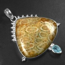 12.1 Gram 925 Sterling Silver Natural Fossil Blue Topaz Pendant Quality Jewelry
