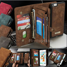 Luxury Genuine Magnetic Leather Zipper Wallet Cards Case Cover For Phones NEW