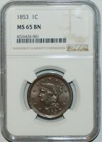 1853 NGC MS65BN Brown Braided Hair Large Cent