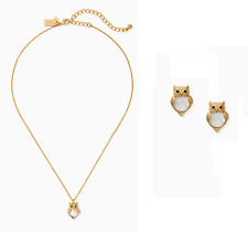 Kate Spade Gold Into the Woods Owl Mini Pendant Necklace Earrings Set NEW Tags