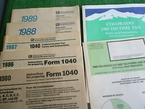 VINTAGE IRS & STATE TAX FORMS & INSTRUCTIONS BOOKLETS / '80, '86, '87, '88 & '89