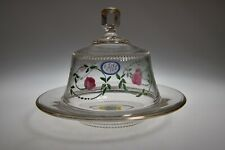 1Q 1900s HP ROSES & VINE by Unknown COLORLESS w/GOLD Butter Dish w/Cover