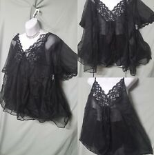 """VENTURA SHORT SEXY BLACK BABYDOLL NIGHTGOWN & PANTY&COVER SIZE 3X GIFT 52"""" BUST"""