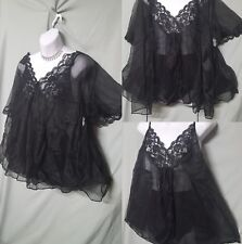 VENTURA SHORT SEXY BLACK BABYDOLL NIGHTGOWN  & PANTY& COVER PLUS SIZE 3X GIFT