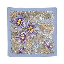 Foulard en soie, Petit Foulard Lilas en soie motif Fleurs, Carre en soie Cadeau
