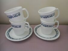 4 Sets of Corelle Old Town Blue Cups & Saucers (Mugs)