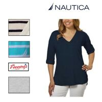 NEW NAUTICA Women V-Neck Roll Tab Tee High-Low Hem Soft Light Various size color