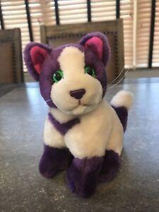 """RARE Lisa Frank Vintage 1995 24K Cat Kitten Plush Purple White 7"""" No Tush Tag"""
