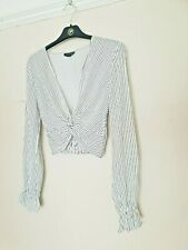 c106d5d3114fa TOPSHOP Striped Crossover Long-Sleeve Crop Blouse Top Size 8