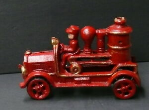 """VINTAGE > CAST IRON TOY >  FIRE ENGINE TRUCK > 7"""" long"""