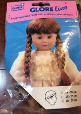 NEW Glorex 28-29cm 11-11.5 Inches Brunette Doll Wig Switzerland Braided Pigtail