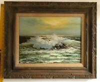 Vintage Oil Painting Signed By Artist, Stevens, Seascape Ocean Waves/Rocks