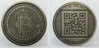 "2012 RARE ""Antiqued"" AOCS Physical Bitcoin BTC 1oz 999 Silver Coin Round QR Code"