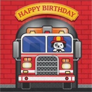 Flaming Fire Truck Happy Birthday Lunch Napkins Paper 16 Per Pack Firefighter