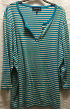 Jones New York Signature Woman Top Blue White Striped 3/4 Sleeves Sz 3X