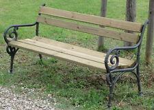 Panchina Vienna legno pino ghisa con braccioli arredo esterno, giardino, parchi