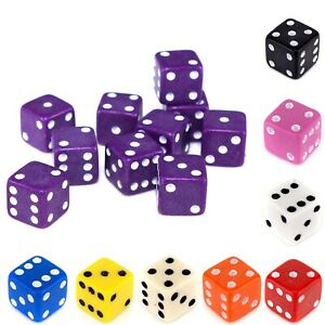 D6 Spot Dice 7mm - OPAQUE (Select Colour) - Small Tiny Mini Dice Game Counters