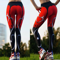 Women's Yoga Fitness Leggings Run Gym Stretch Sports High Waist Pants Trousers K