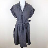 Wilfred Aritzia Grey Linen Stud Short Sleeve Belted Mini Casual Dress