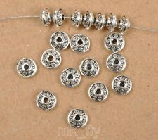 50pcs Tibetan Silver charm loose beads spacer bead 6x3mm  FA3458