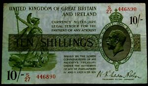 FISHER 10 SHILLINGS BANKNOTES 1922 -*PREFIX S*LAST SERIES (T30) - NOTES X1