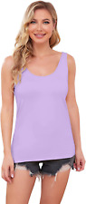 New listing DYLH Women's Cami Camisole Built-in Bra Wide Strap Tank Top Padded Vest Sports 1