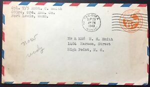 Tacoma, WA - Fort Lewis, UC5 or 6 Entire, Posted Sep 29, 1943, to High Point, NC